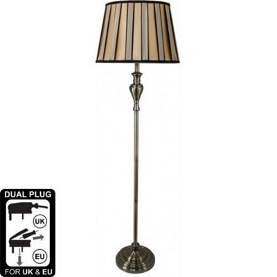Sandringham Gold Floor Lamp With Bronze And Black Shade
