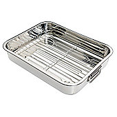 KitchenCraft Stainless Steel Roasting Pan with Rack - 6.5cm x 35cm x 28cm