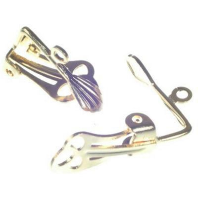 Ear Clips for drop type earrings Gilt - 12 Pairs