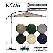 Nova 3m Taupe Hanging Crank Operated Cantilever Garden Parasol