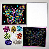 Butterfly Sequin Picture Art Kit for Children to Design Make & Display - Creative Craft Set for Kids