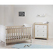 East Coast Fontana Ice 2 Piece Room Set - Cot Bed, Dresser and Sprung Mattress