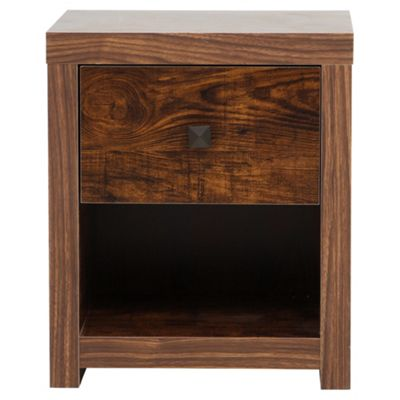 Torino 1 Drawer Bedside Table, Mango Effect