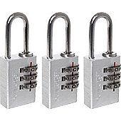 Sterling Aluminium Combination Padlock - 20mm Pack of 3