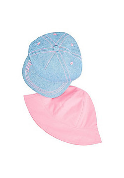F&F 2 Pack of Cap and Bucket Hat Set - Blue & Pink