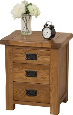 Cotswold Rustic Solid Oak 3 Drawer Bedside Table Cabinet