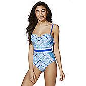 F&F Tile Print Bandeau Swimsuit - Blue