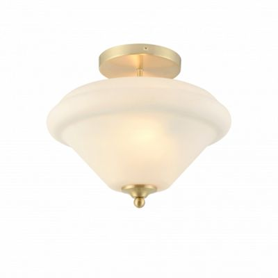 Satin Brass Effect Plate & Matt Opal Duplex Glass 2lt Semi Flush 40W