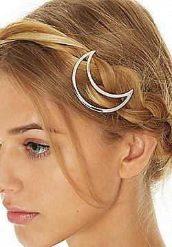Pieces Metal Moon Hair Clip - Silver