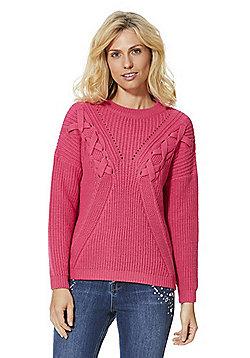 F&F Lattice Rib Knit Jumper - Bright pink