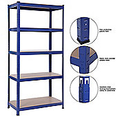 Heavy Duty 5 Tier Racking Shelves,Boltless Industrial Racking,180x120x45cm. Industrial Strength & MDF, 900Kg Capacity Garage/Shed Storage Unit - Blue