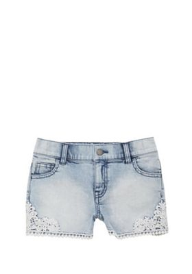 F&F Crochet Trim Denim Shorts Acid Wash 9-10 years