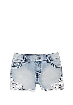 F&F Crochet Trim Denim Shorts - Acid Wash