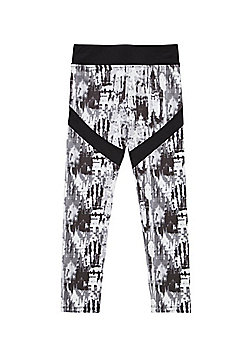F&F Active Blurred Marble Print Leggings - Black & White