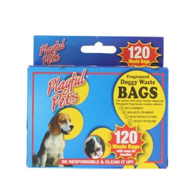 120 Fragranced Dog Poo P*OP Waste Bags Easy Tie Handle Playful Pets Clean Up