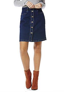 Only Button Front Denim Skirt - Dark wash