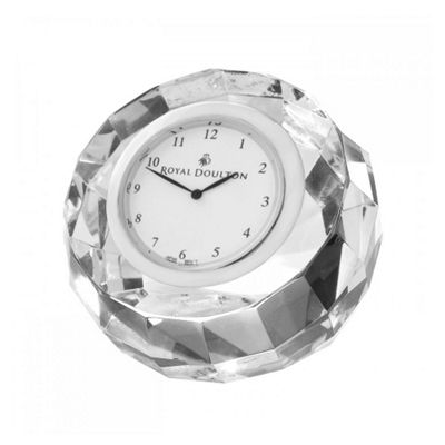 Royal Doulton Radiance Round Faceted Clock 7.4cm by 13.22cm