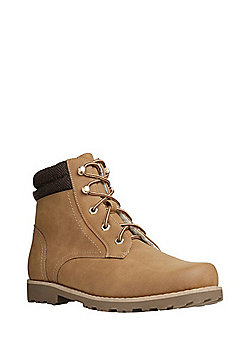 F&F Borg Lined Lace-Up Boots - Tan