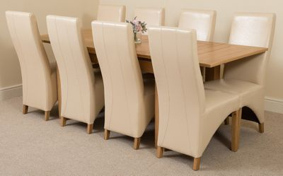 Richmond Solid Oak Extending 140 - 220 cm Dining Table with 8 Ivory Lola Leather Dining Chairs