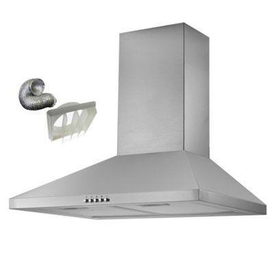 Cookology CMH605SS 60cm Chimney Cooker Hood in Stainless Steel | Kitchen Extractor Fan & Ducting Kit