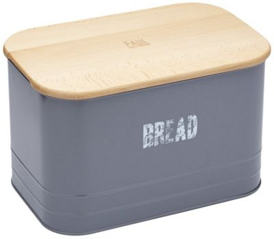 KitchenCraft Paul Hollywood 2in1 Metal Bread Bin and Wooden Bread Cutting Board
