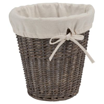 Tesco Wicker Fabric Lined Bin, Grey