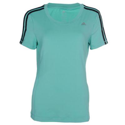 adidas Clima 3 Stripe Essential Womens Fitness T-Shirt - UK 8-10