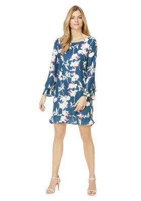 Vila Floral Print Double Bell Sleeve Dress Green Multi S