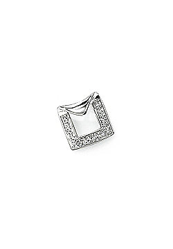 Jewelco London 9ct White Gold - Diamond - Charm Pendant -