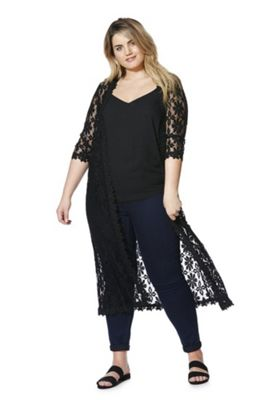 Izabel Curve Daisy Lace Plus Size Cardigan Black 20