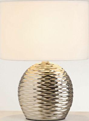 The Lighting & Interiors Group Midi Ripple Table Lamp - Chrome - White Cotton