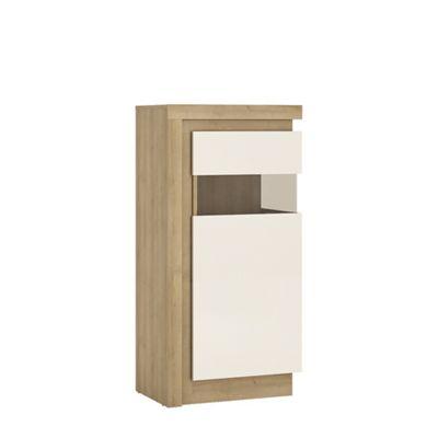 Lyon Narrow display cabinet (RHD) 123.6cm high (including LED lighting) in Riviera Oak/White high gloss