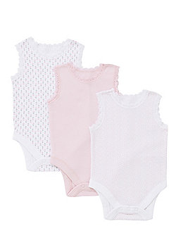 F&F 3 Pack of Lace Trim Sleeveless Bodysuits - Pink & White