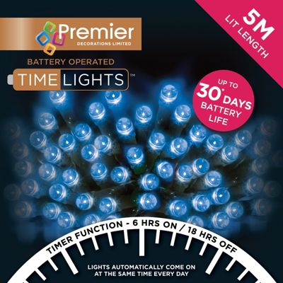 Premier 50 Multi Action Battery Operated Blue LED Lights