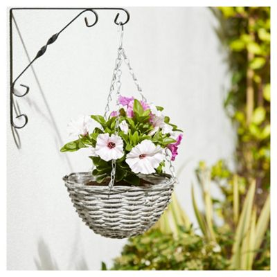 Foliage Artificial Purple and White Petunia in Grey Basket