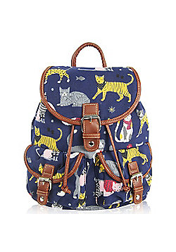Children's Backpacks, Girl's Backpacks, Toddler Backpacks, Children's Navy Rucksacks - Retro Cats