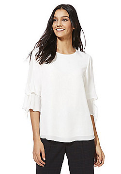 F&F Tie Up Flute Sleeve Top - Ivory