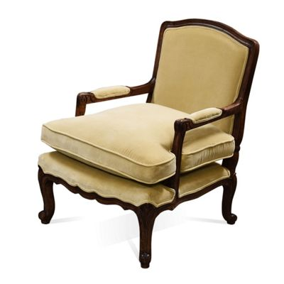Homescapes Cream French Style 'Marrie' Handcrafted Velvet Armchair
