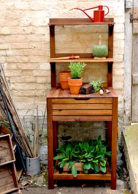 Hardwood potting bench with storage