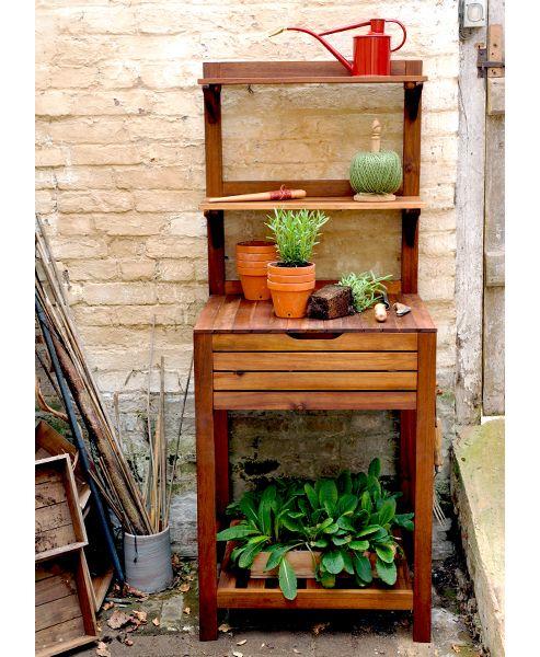 Hardwood potting bench with storage