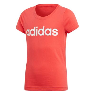 adidas Linear Girls Youth Short Sleeve T-Shirt Tee Coral - 14-15 Years