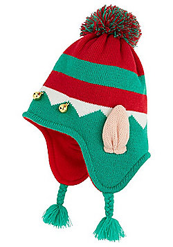F&F Hat with a Heart Striped Elf Hat - Green