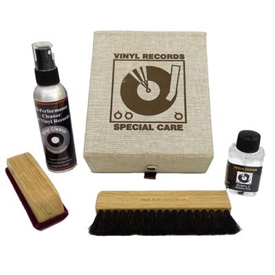Simply Analogue High Quality Vinyl Cleaning Kit - Cream Leather
