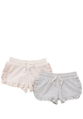 F&F 2 Pack of Frill Trim Jersey Shorts Pink/Grey 5-6 years