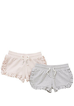 F&F 2 Pack of Frill Trim Jersey Shorts - Pink/Grey