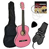 Jasmin 4/4 Size Pink Classical Guitar Beginners Complete Starter Kit