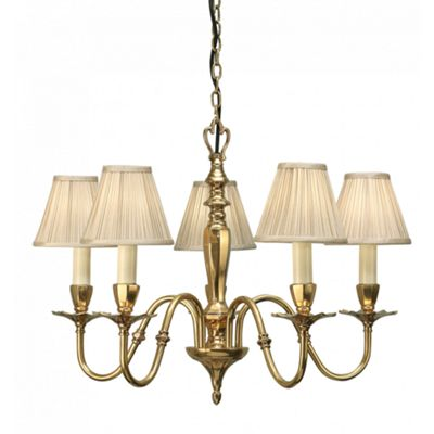 Pendant Light - Solid brass & beige organza effect fabric