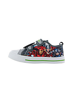Avengers Grey Canvas Low Top Trainers Sports Shoes Hook & Loop Various Sizes - Grey