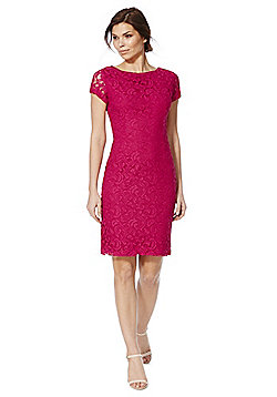 Roman Originals Lace Pencil Dress - Hot pink