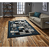 Hudson Square Black & Blue Runner - 60x220cm